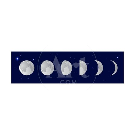 Vector Illustration Set. Phases of the Moon or Lunar Phase in the Night Sky with Stars. Different S Print Wall Art By