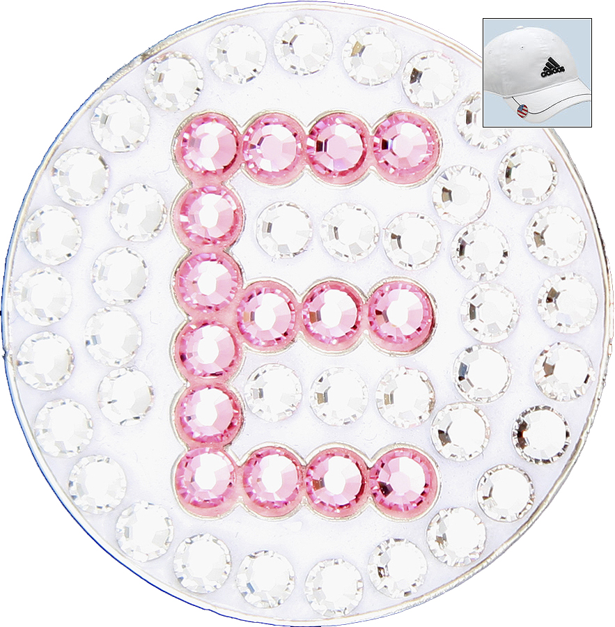 Bella Crystal Golf Ball Marker & Hat Clip - Initials Collection - E (Pink)