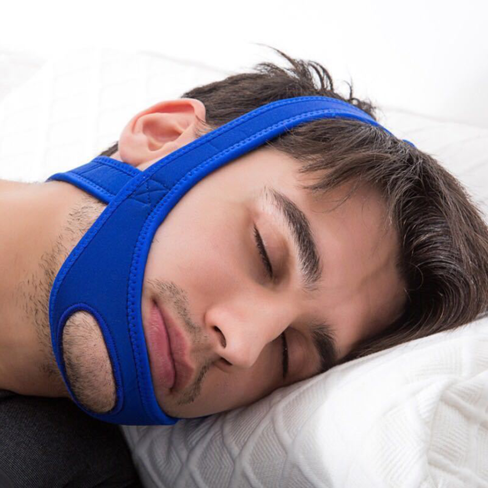 Snore Stop Anti Adjustable Snoring Chin Strap Quiet Sleeve Jaw Solution Belt Reduce Sleep Stress (Blue)