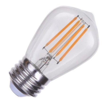 120 Volt 4 Light Chain - Eiko 09864 - 4 watt 120 volt S14 Medium Screw Base Vintage 2700K Clear Dimmable LED Filament (LED4WS14/FIL/827-DIM-G7)