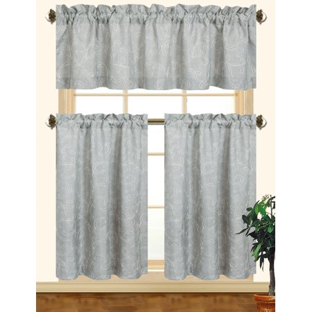 Kashi Home Chelsea 3pc Scroll Embroidered Decorative Kitchen Curtain Set (Gray/White) Black Scroll Kitchen Set