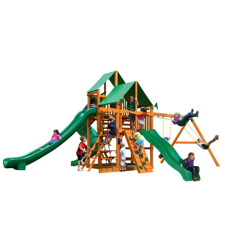 Gorilla Playsets Great Skye Ii Wooden Swing Set With 2 Green Vinyl Canopies 3 Slides