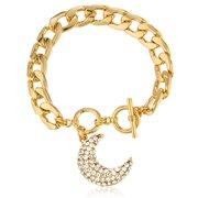 Goldtone Crescent Moon Charm with Stones Toggle Adjustable 8 Inch Bracelet