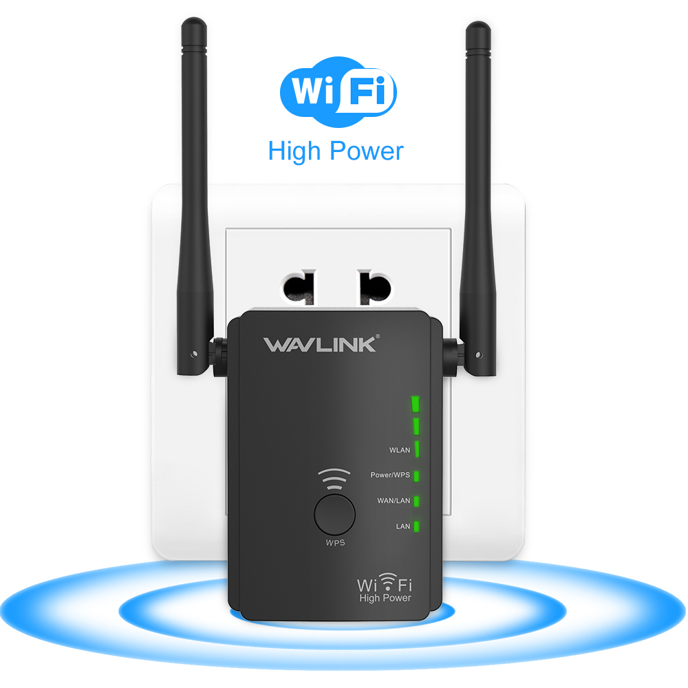 Wavlink N300 Universal WiFi Range Extender/ Access Point / Wireless Router Wi-Fi Signal Amplifier Booster With 2 High Gain External Antennas - Black