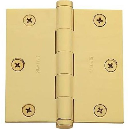 3.5' Brass Square Corner (Baldwin 1035003INRP Lifetime Polished Brass - Solid Brass Square Corner Plain Bearing Mortise Hinge, 3.5 x 3.5)
