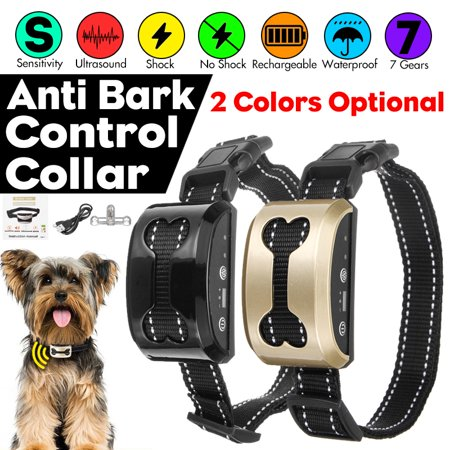 Anti Bark  Collar No Barking Shock Control Warning Beeper Training System Dog Pet Ultrasonic Harmless Static Shock Waterproof Rechargeable Electric 7 Levels Sensitivity