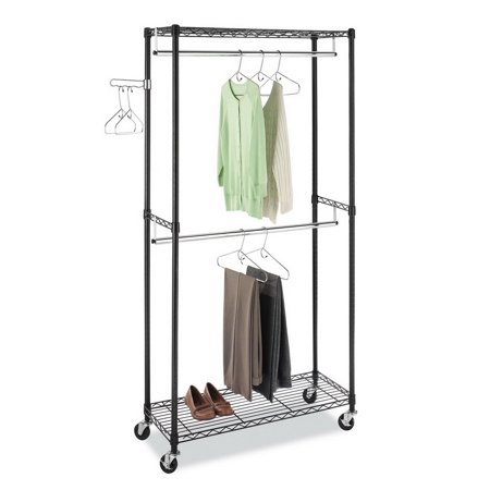 Clothing Racks on Wheels with Double Rod & Shelves, Wire Shelving Clothing Rolling Rack Heavy Duty Garment Rack,35.4 x 17.7 x 70.9 Inch,Y00420 Clothing Racks on Wheels with Double Rod & Shelves, Wire Shelving Clothing Rolling Rack Heavy Duty Garment Rack,35.4 x 17.7 x 70.9 Inch Modern Design &  Open SightThe metal wire design for the garment rack is simple and modern, which is suitable for most dcor. And Open design offers you for clear visibility and grab quickly what you want. Large  CapacityPratical clothes rack equipped with 2 adjustable shelves, 2 hanging rod and a flexible side rod. You can use bottom shelf to keep your shoes, luggage or other daily items and put your beddings on the top shelf.The spinning side rod are perfect for ties, belts or scarves. Adjustable  HeightThis clothing rack equipped with adjustable shelves, simply slide the shelf to the desired height and attach the sleeves to hold the shelf in place. 360  RotatingThe rolling clothes rack is equipped with 4 heavy-duty caster wheels for easy portability around the house. The wheels have a 360 swivel for smoother transportation. Two of the caster wheels have locking brakes for safety and security to keep the garment rack in place. Stable  ConstructionWardrobe rack constructed with powder sprayed carben steel pipes, the closet is sturdy and rustproof. The clothing rack will company you for years like new. The weight capacity of each shelf is approx 66 lbs.Introductions:If you are always bothered by your messy room, this Garment Rack Clothes Hanger is highly recommended to you. Adopting high quality material, it features stable, sturdy and durable. It can create extra storage space instantly, and instantly organize your messy items into neat condition with little effort. With smooth rolling and stable stand, it's easy to move around your house and secure lock in space with 4 industrial wheels(Two locking). Moreover, it has a swinging arm and adjustable shelves, which allows you to organize belts, ties, shoes, purses and other stuffs. Don't hesitate, just take it home!Specifications:1. Material: Carbon Steel2. Color: Black3. Surface Finish: Powder Coating4. Dimensions: (35.4 x 17.7 x 70.9)  / (90 x 45 x 180)cm (L x W x H)5. Pipe Size: 19x1.0mm (Diameter x Thickness)6. Weight: 16.3 Lbs / 7.4 kg7. Per Shelf Maximum Load: 66 Lbs / 30 kgFeatures:1. Made of high quality material, stable, sturdy and durable2. It has a long service time3. Large storage capacity, make your room no longer in a mess4. Flexible wheels, easy to move to anywhere5. Spacious and adjustable, multifunctional and practical6. Easy to assemble and maintainPackage Includes:1 x Garment Rack Hanger
