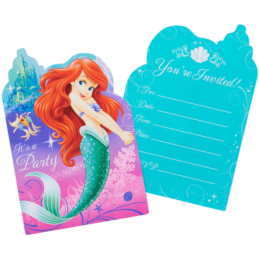 The Little Mermaid Party Invite Postcards, 8ct