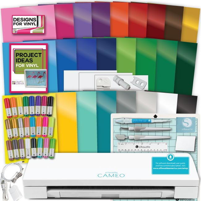 Silhouette Cameo 3 Machine Bundle 28 Oracal Vinyl With Transfer Paper Tools Pens