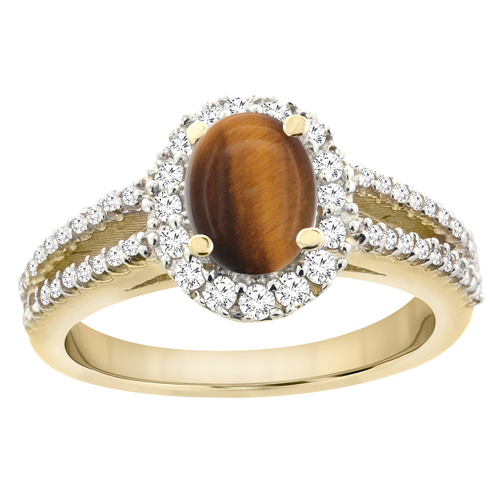 14K Yellow Gold Natural Tiger Eye Split Shank Halo Engagement Ring Oval 7x5 mm, size 5 by Gabriella Gold