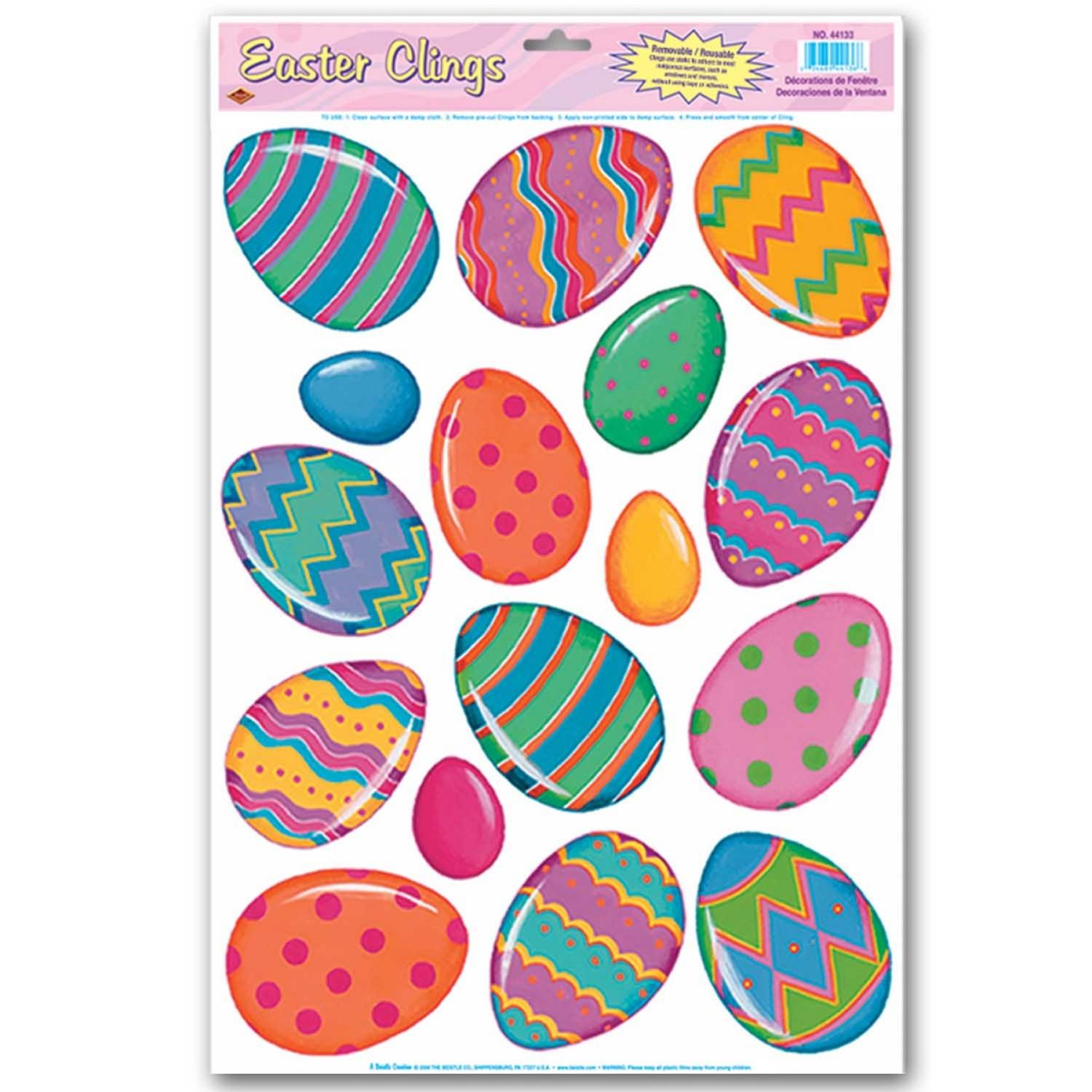 Club Pack of 192 Bright Multi-Colored Easter Egg Window Cling Decorations 17""