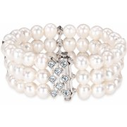 7.5-8mm Cultured Freshwater White Pearl and 1-1/5 Carat T.G.W. Blue Topaz Sterling Silver 3-Row Stretch Bracelet, 7