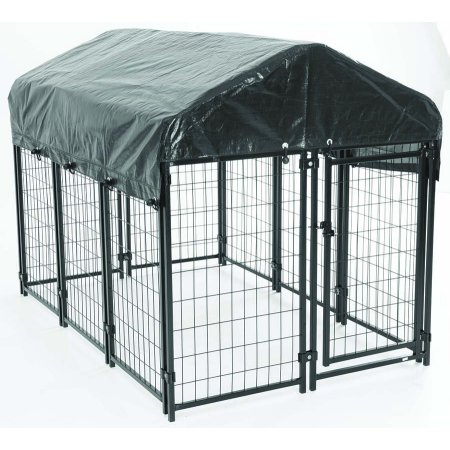 AKC® Pet Resort™ 4ft L x 6ft W x 660in. H -Heavy-duty Dog Kennel with Roof & Waterproof Cover for Porch & Patio with Free Training (Freestanding Kennel)