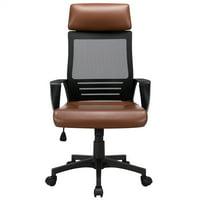 SmileMart Adjustable Ergonomic Mesh Office Chair Swivel Computer Chair, Brown