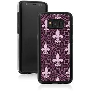 Shockproof Impact Hard Soft Case Cover for Samsung Galaxy Pink Purple Fleur-De-Lis Pattern (Black, for Samsung Galaxy Note 9)