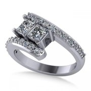 Allurez 14k Gold Princess-cut Diamond Bypass Split Shank Two Stone Ring 1.28ct
