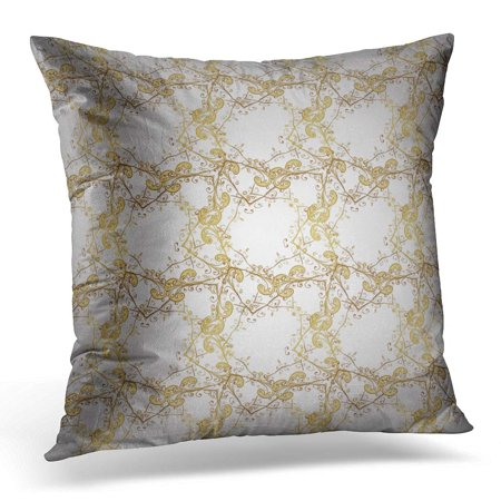 ECCOT Ancient Gold Metal with Floral Pattern Golden Brocade and Glass White and Yellow Colors with Antique Pillowcase Pillow Cover Cushion Case 20x20 inch
