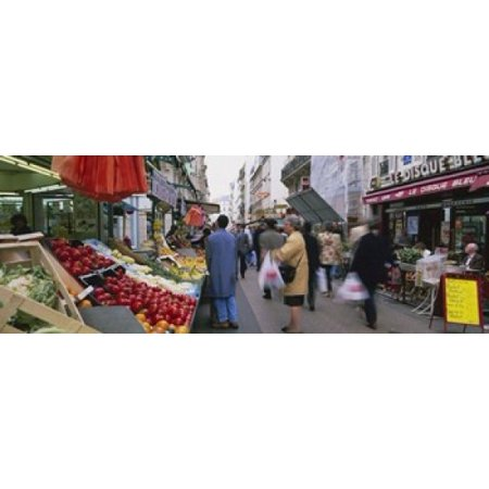 Group Of People In A Street Market Rue De Levy Paris France Poster
