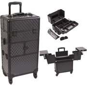 Black Diamond Pattern 3-Tiers Accordion Trays 4-Wheels Professional Rolling Aluminum Cosmetic Makeup Case and Easy-Slide Extendable Trays with Mirror and Brush Holder - I3764