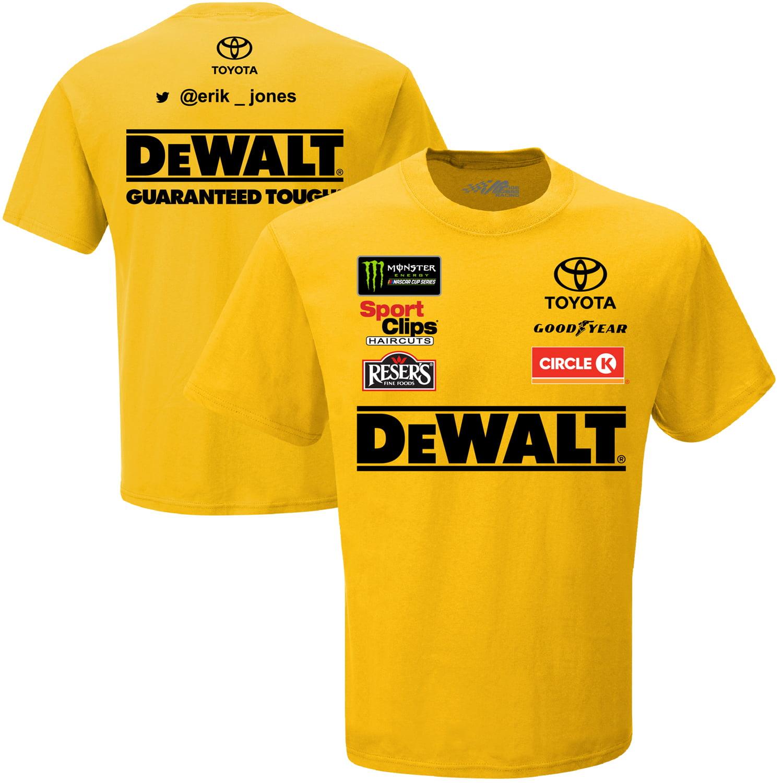 Erik Jones Joe Gibbs Racing Team Collection Dewalt Uniform T-Shirt - Yellow