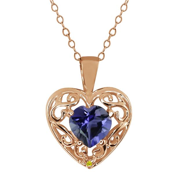 0.59 Ct Heart Shape Blue Iolite Canary Diamond Gold Plated Silver Pendant
