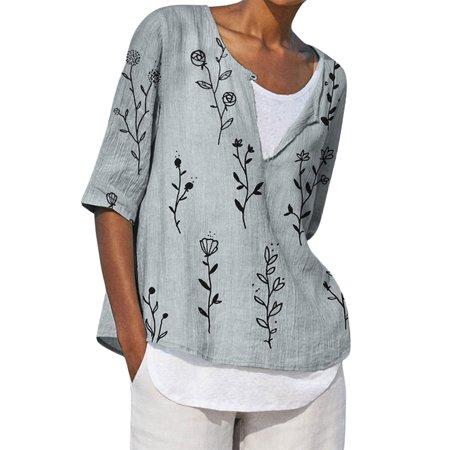 UKAP Womens Cotton Linen Half Sleeve Shirts V Neck Boho Casual Button Up Tops