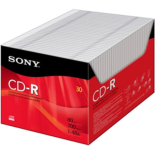 Sony 30-Pack 48x Color CD-R with Slim Jewel Cases