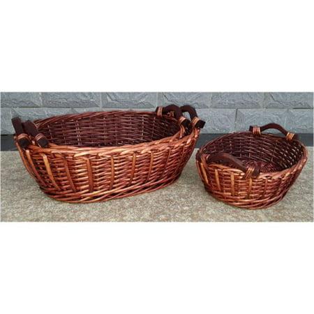 Bloomsbury Market Oval Wooden Handles Willow Wicker Basket