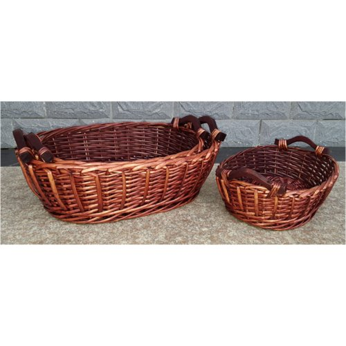 Bloomsbury Market Oval Wooden Handles Willow Wicker Basket