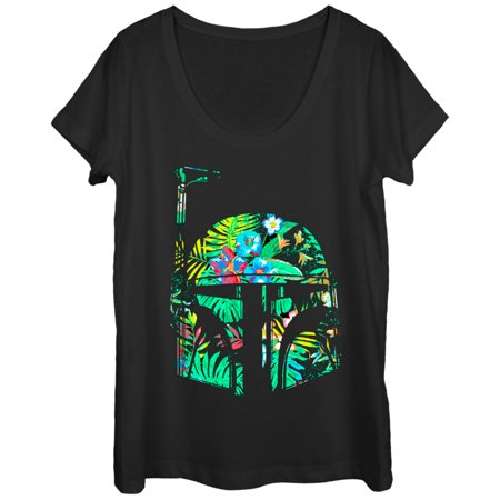 Star Wars Hawaiian Print Boba Fett Helmet Womens Graphic Scoop Neck