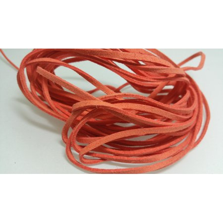 5 YARDS - 15 FEET Autumn Orange Faux Suede Cord Leather Lace Ribbon Soft 3mm x 1.5mm