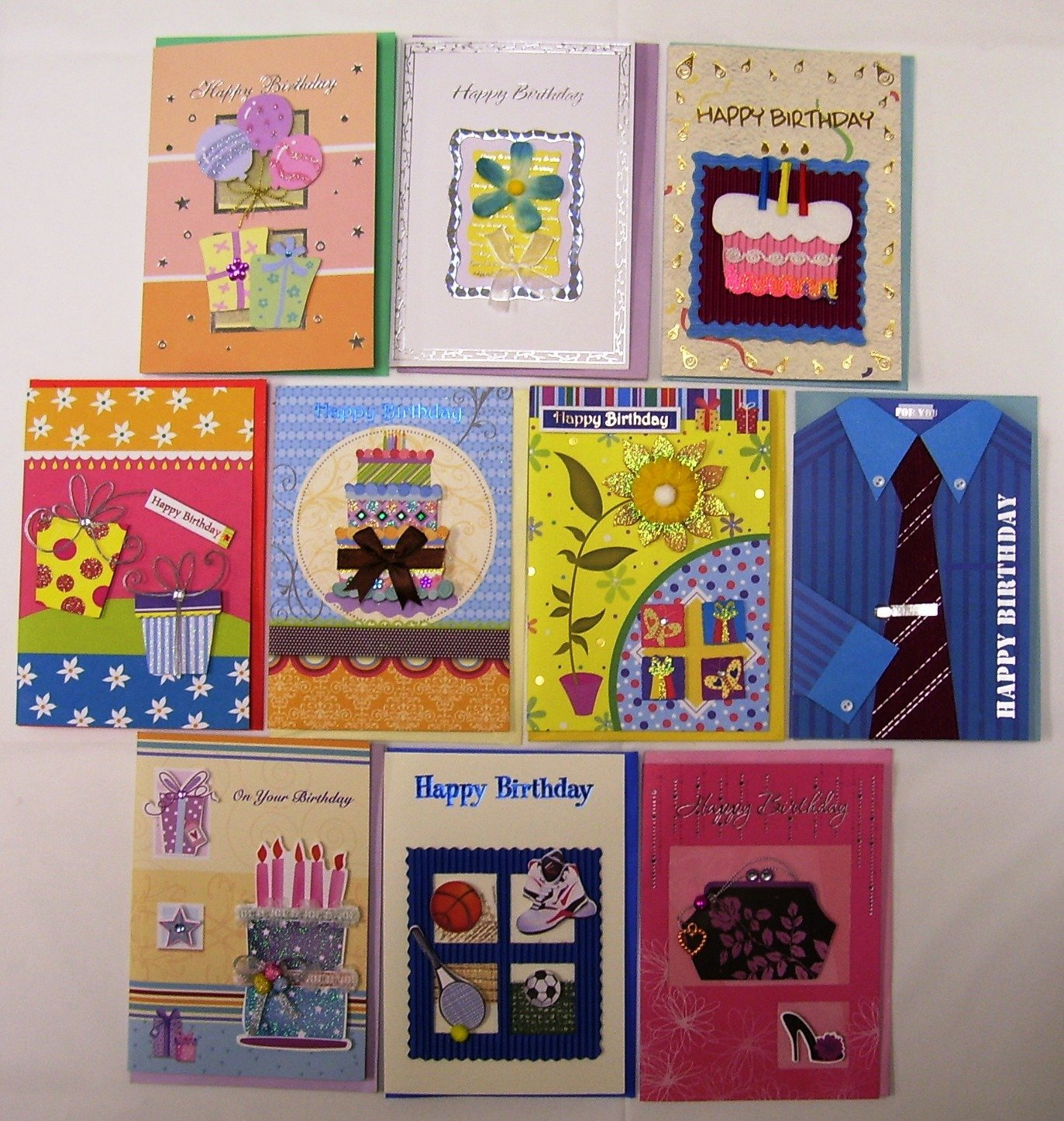 Deluxe Handmade Birthday Greeting Cards 10 Pack Walmart