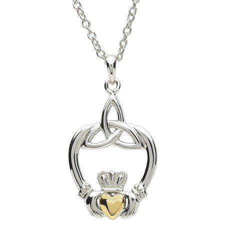 Shanore Irish Jewelry Women's Platinum Plated Claddagh and Trinity Knot Pendant - 18