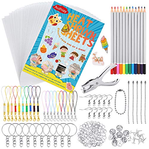 20 Sheets Blank Shrinky Art Paper Doryum 198 Pcs Shrink Plastic Kit Hole Punch Earring Hooks Heat Shrink Film Craft for DIY Ornaments Jewelry Making Keychain Accessories Colored Pencils