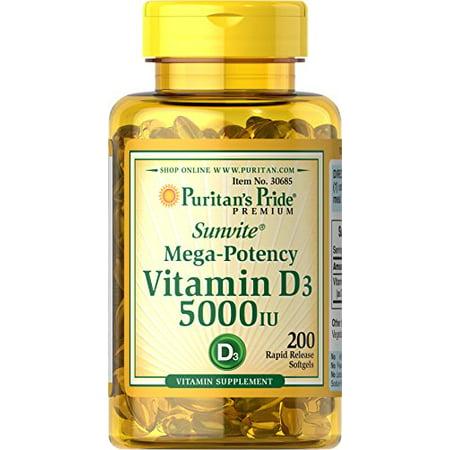 Puritans Pride Vitamin D3 5000 Iu 200 Softgels