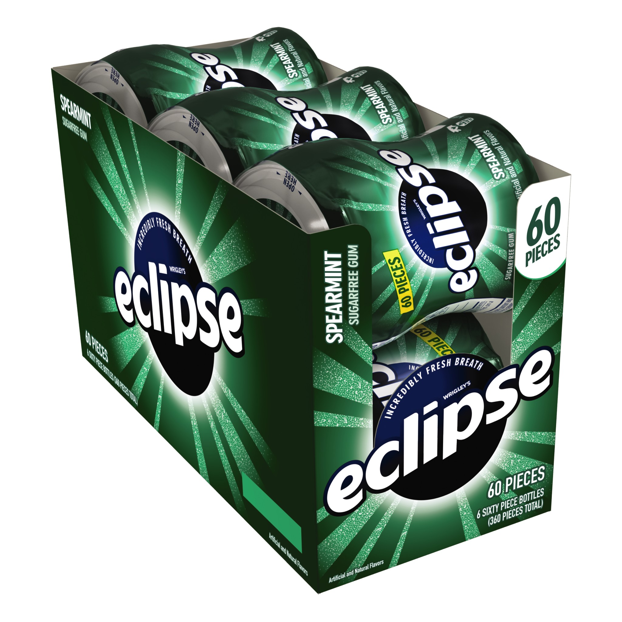 Eclipse, Sugar Free Spearmint Chewing Gum, 60 Pcs, 6 Ct