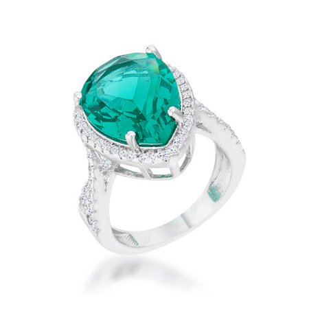 Womens Laura 9.9 CT Cubic Zirconia Rhodium Classic Teardrop Ring, Blue Green - Size 9 ()