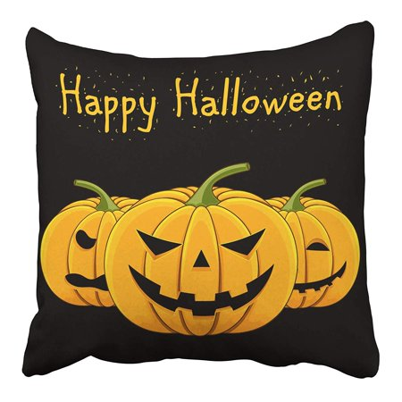 CMFUN Orange Happy with Evil Pumpkin for Halloween Autumn Autumnal Bad Black Cartoon Pillow Case Pillow Cover 16x16 inch Throw Pillow Covers](Evil Halloween Pumpkin)