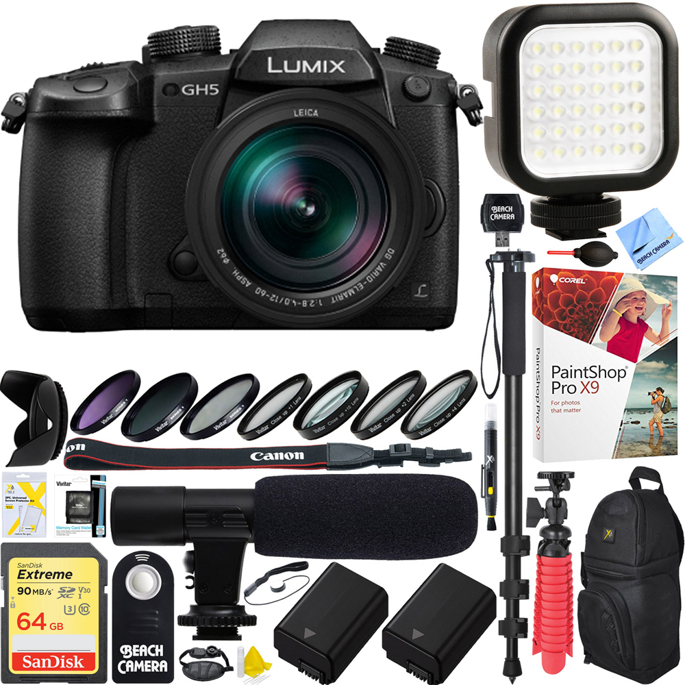 Panasonic LUMIX GH5 20.3MP 4K Mirrorless Digital Camera 12-60mm f2.8-4.0 ASPH Leica Lens - 64GB SDXC Dual Battery & Shotgun Mic Pro Video Bundle