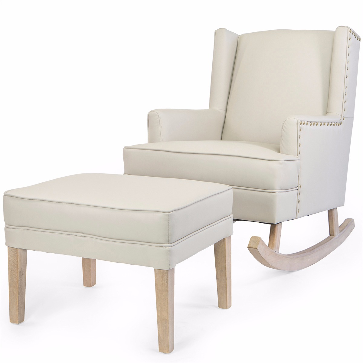 Barton Leather Rocking Chair Glider & Ottoman Set with Cushion, Beige by BARTON