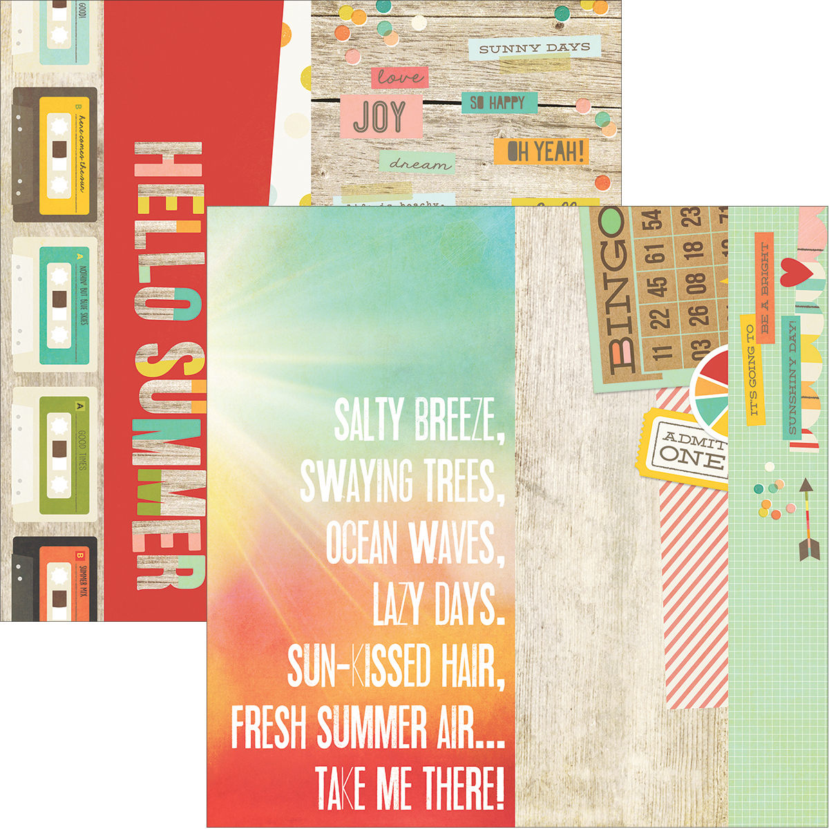 "Summer Vibes Double-Sided Elements Cardstock 12""X12""-2""X12"", 4""X12"" & 6""X12"""