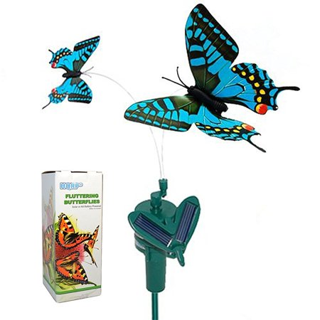 HQRP Twin Solar Butterflies Flying Fluttering Blue Swallowtail Powered by Sun or AA Battery for Garden Plants Flowers plus HQRP UV Chain