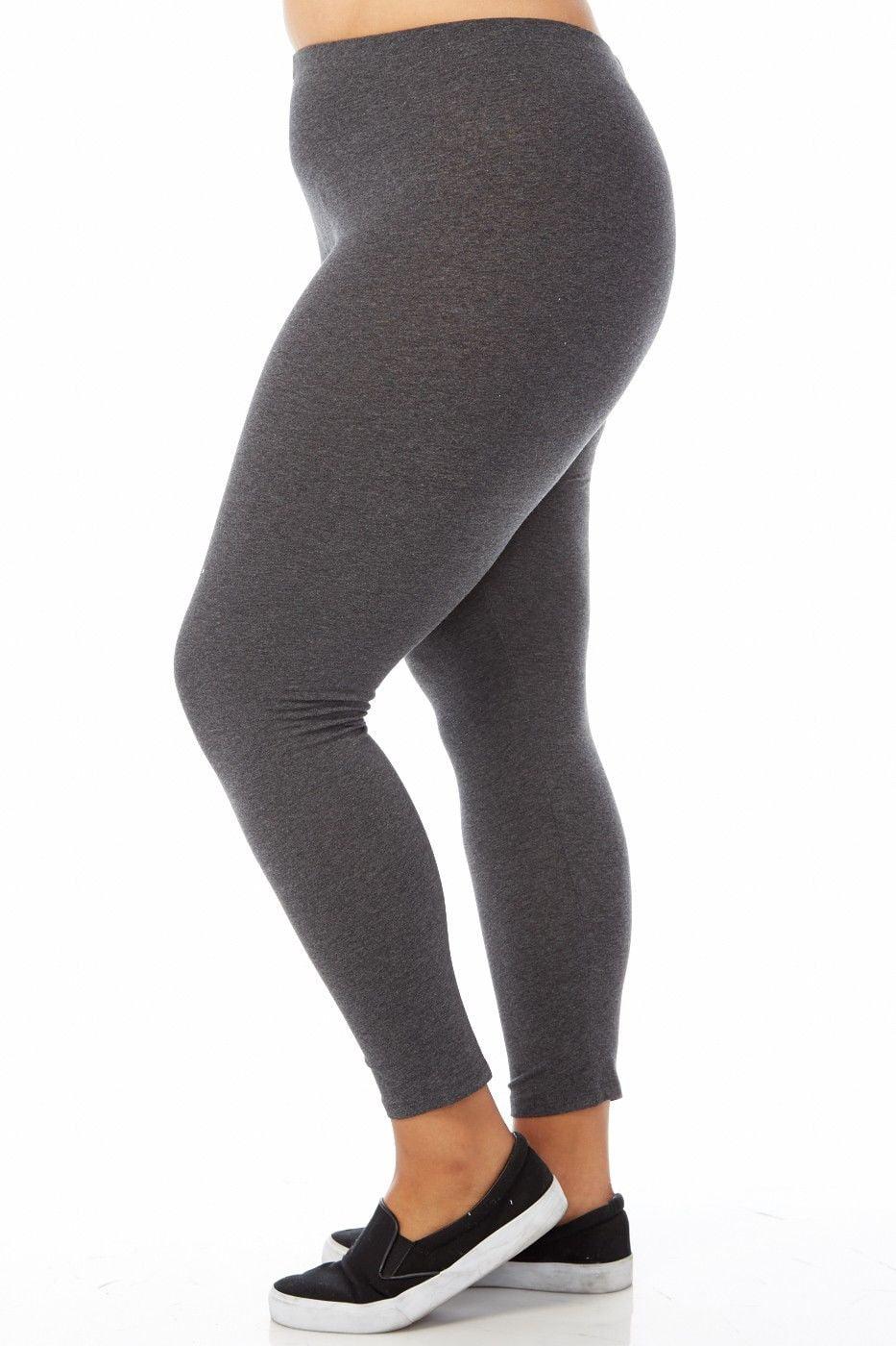 Womens Plus Size Comfy Basic Cotton Blend Plain Color Long Leggings XB4003
