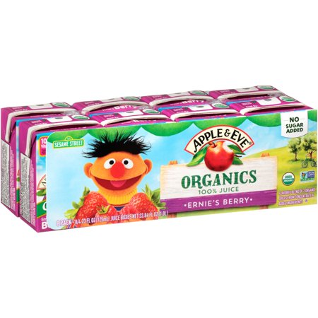 (40 Boxes) Apple & Eve Sesame Street Organics, Ernie's Berry, 6.75 fl oz - Berry Boxes