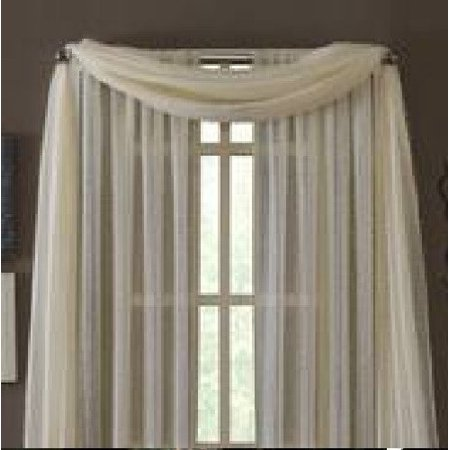 1 PC SOLID IVORY Hotel High Quality Elegant Window-Sheer Scarf Valance swag topper (37