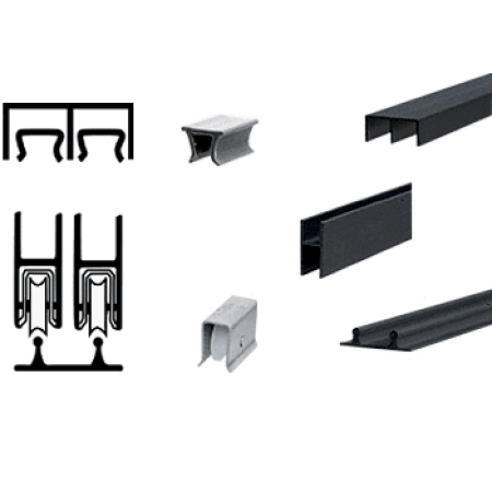 CRL D2203BL Flat Black Track Assembly D603 Upper and D602 Lower Track With Nylon Wheels Crl Track Assemblies