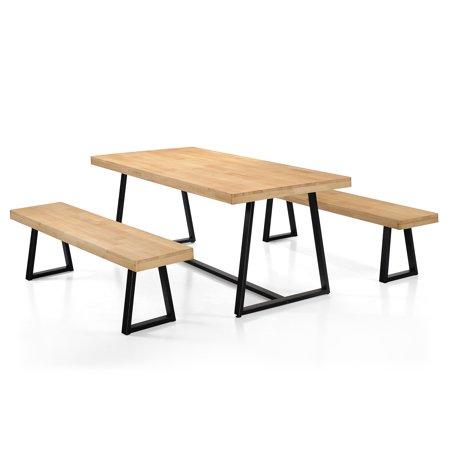 Enjoyable Jacob Farmhouse Cottage 3 Piece Wood Table And Bench Picnic Set Natural Oak Finished Ibusinesslaw Wood Chair Design Ideas Ibusinesslaworg