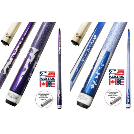 Cue Shafts - Champion Gator Purple TR6 Pool Cue Stick with Low Deflection Shaft, Cuetec Glove (12 mm, 19 oz)