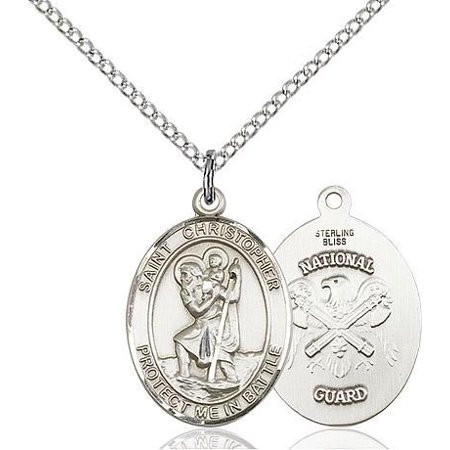(St. Christopher / National Guard Military Medal Pendant in Sterling Silver with 18