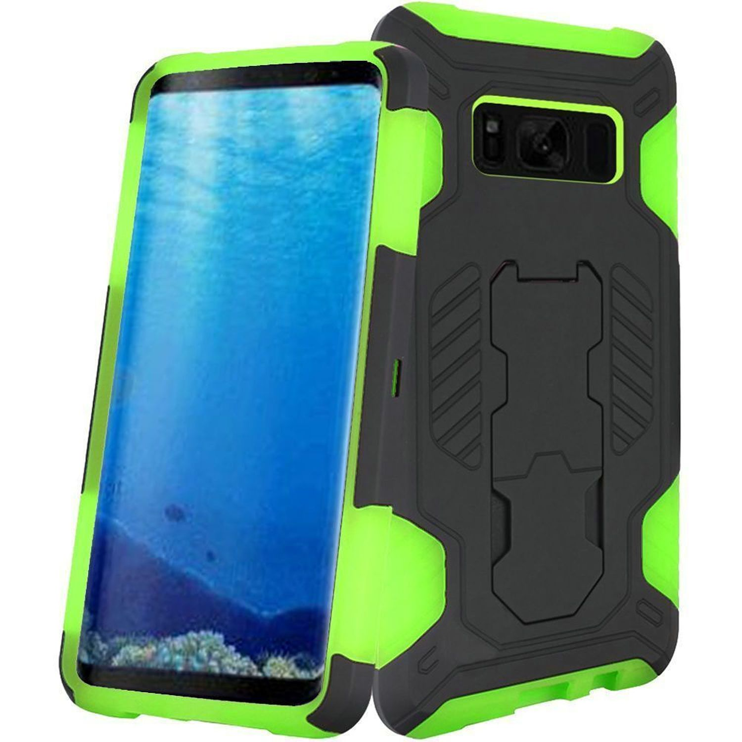 Insten SuperCoil Dual Layer [Shock Absorbing] Hybrid Stand Hard Snap-in Case Phone Cover For Samsung Galaxy S8, Black/Neon Green